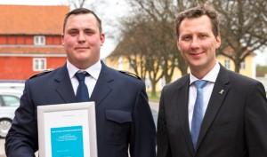 Kenneth Erik Johansen og forsvarsminister Nick Hækkerup. Foto: Beredskabsforbundet
